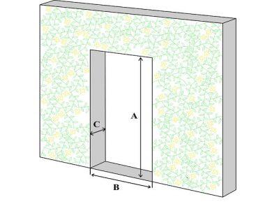 Дверной проем (А - высота, В - ширина, С - толщина)