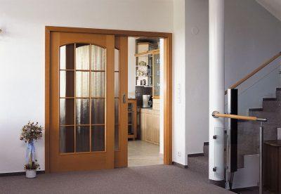 Раздвижная двустворчатая каскадная дверь