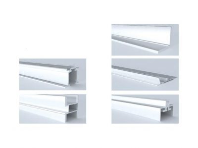 Система межкомнатных дверей из алюминиевого профиля с верхним подвесом