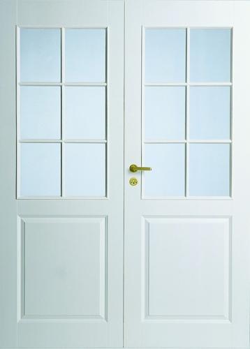 Дверь с двумя филенками и стеклами