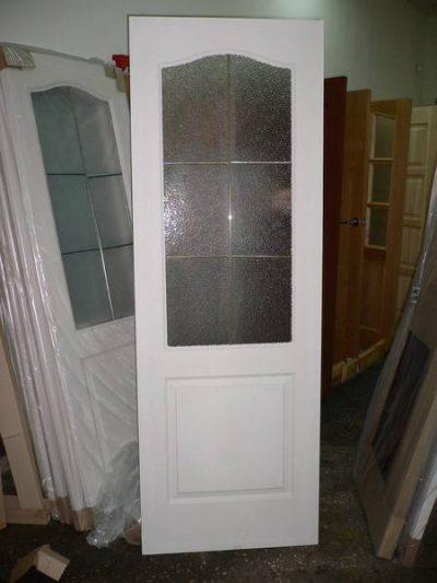 Двери канадка, остекленные рельефным стеклом