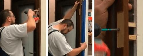 Закрепление коробки двери