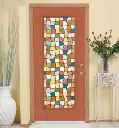 Стеклянные двери-витраж с деревянной основой