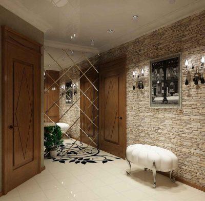 Зеркало в дизайне интерьера прихожей с расположением непосредственно возле входной двери