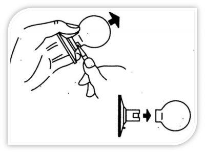 Снятие шара с контура рукоятки