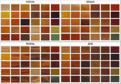 Возможные цветовые решения для дверных конструкций, которые имитируют поверхности дуба, ольхи, сосны и ясеня, пользующихся особым спросом