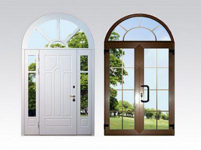 Арочный дверной блок с прямоугольным полотном