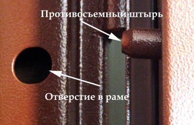 Противосъемный механизм со штырями