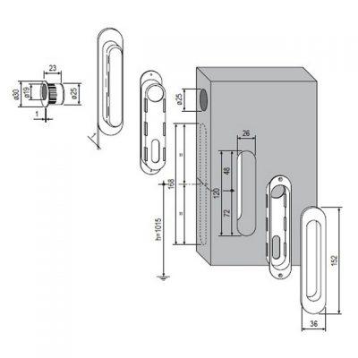 Схема установки набора из боковых скрытых ручек и пальчикового зацепа