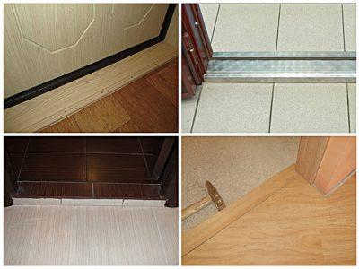 Порог для входной двери, выполненный из разных материалов