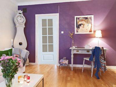 Вариант комнаты с фиолетовой отделкой
