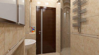 Ламинированная дверь со стеклянной вставкой в ванной