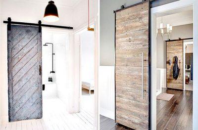 Деревянная амбарная дверь хорошо поддержит стиль лофт