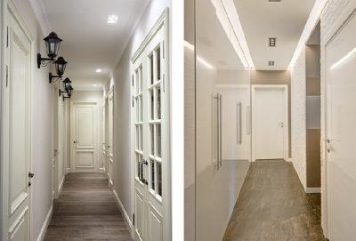 Светлые двери в коридоре визуально расширяют пространство