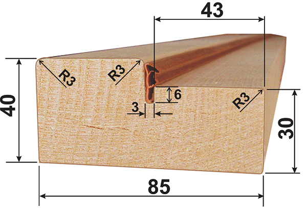 Размерная часть коробочного бруска
