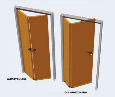 Симметричные и асимметричные половинки двери-книжки