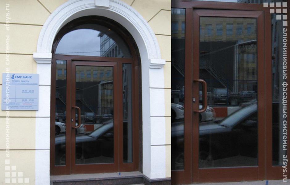 Пример оформления алюминиевой входной конструкции
