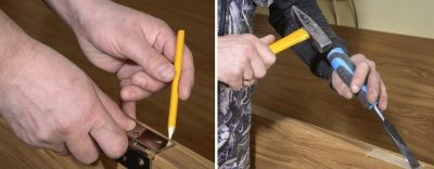 Разметка двери и подготовка места для петель