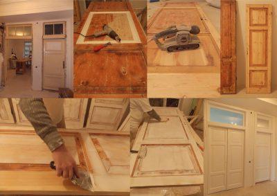 Весь рабочий процесс, начиная от снятия дверей с петель, укладывания в горизонтальную плоскость, чистки, сушки и покрытия элегантной белой краской