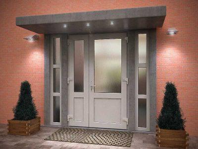 Пластиковые двери со стеклом для частного дома