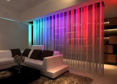 На фото современный интерьер, оформленный арочной занавеской с внутренним световым декором