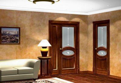 Полуторная межкомнатная дверь с глухой составляющей