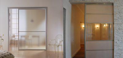 Стеклянная дверь в металлическом профиле