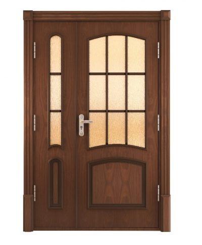 Дверная ассиметричная конструкция, оформленная в классическом дизайне и темной цветовой гамме